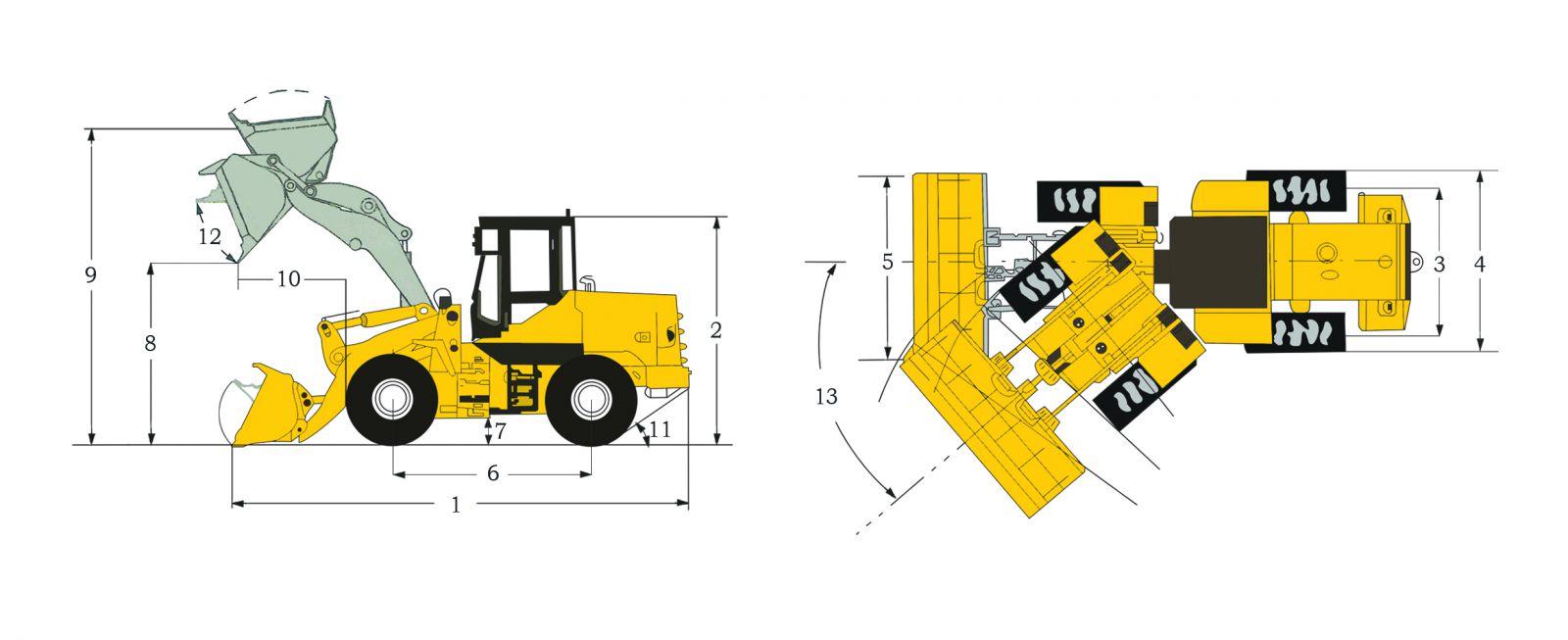 Креслення фронтального навантажувача TEREN 830C | Чертеж фронтального погрузчика TEREN 830C