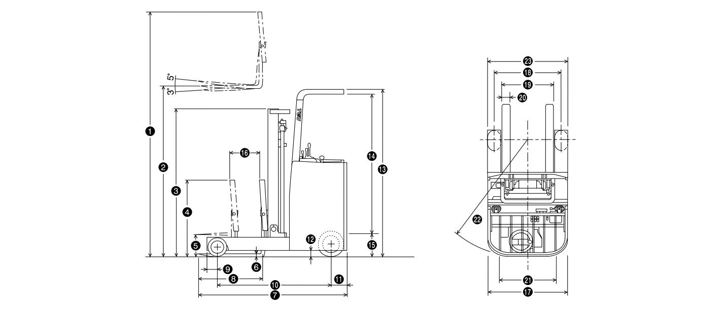 Креслення електрично вилочного навантажувача FRB18/FRHB18 | Чертеж електрического вилочного погрузчика TEREN FRB18/FRHB18